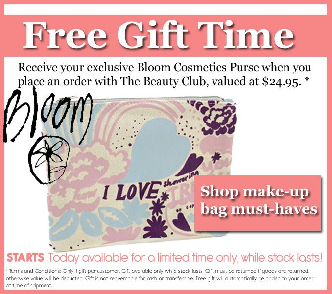 Free Gift with Purchase, ALL orders receive a FREE Bloom Cosmetics MakeupBag, Free Shipping