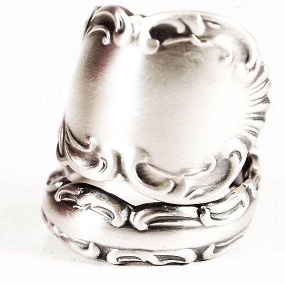 Rococo Sterling Silver Spoon Ring Victorian Antique by Spoonier, $52.00