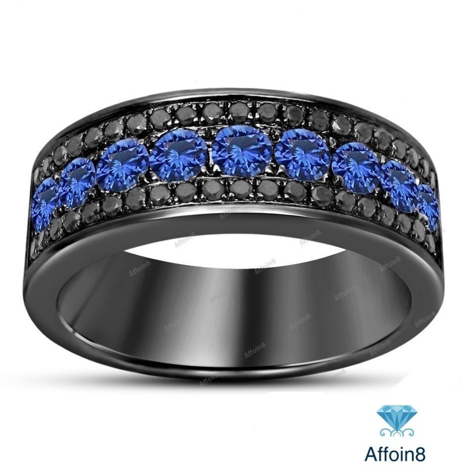 070 Ct Round Lab Diamond Blue Sapphire Black Gold Fn Men's Wedding Band Ring Affoin8 Mensweddingbandring: Blue Shappire Black Wedding Band At Reisefeber.org