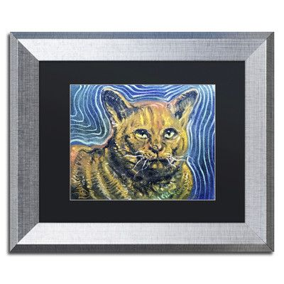 "Red Barrel Studio Chairman Meow Framed Painting Print Size: 11"" H x 14"" W x 0.5"" D"