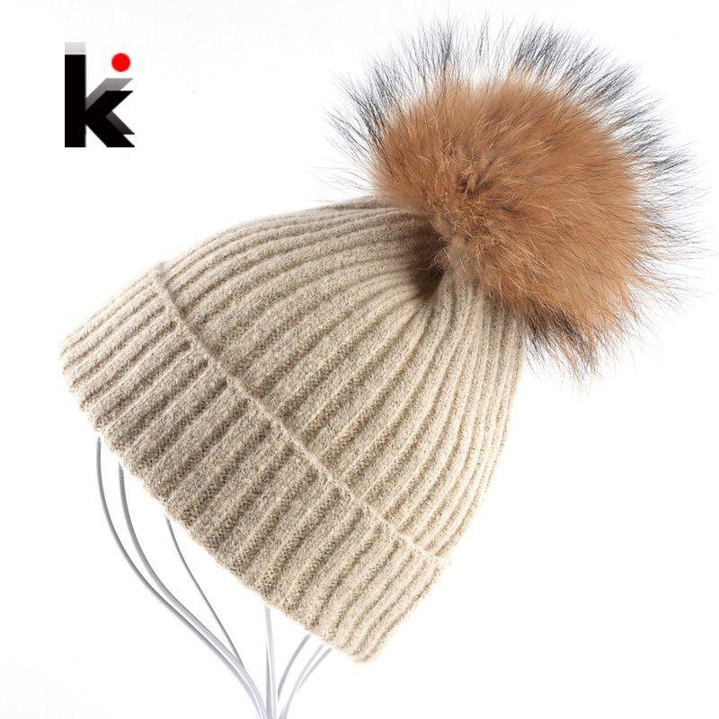 WIG RACCOON FOX Fur Beanie Knitten Hat Cap Winter Women Lady Girl Fashion
