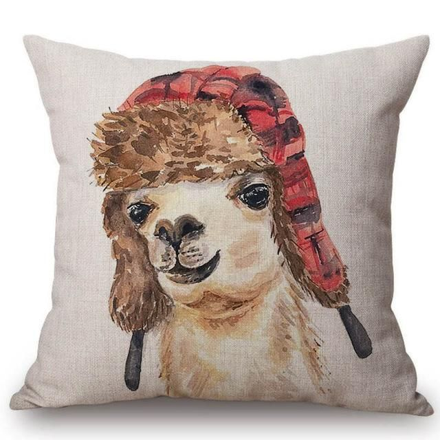 French Poodle Pillow Case Cotton Linen Cushion Cover Sofa Square Pillow Cover