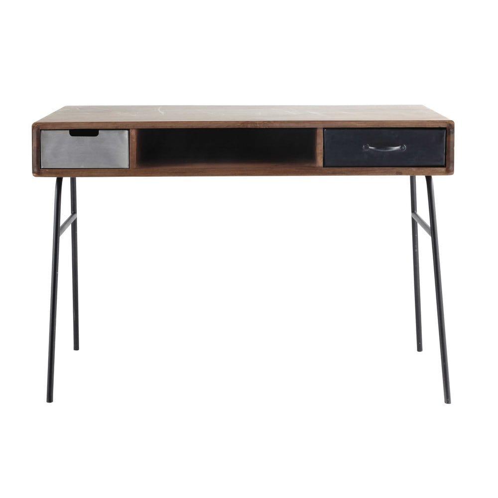 Bureau vintage en manguier massif et métal | 家具 | Pinterest