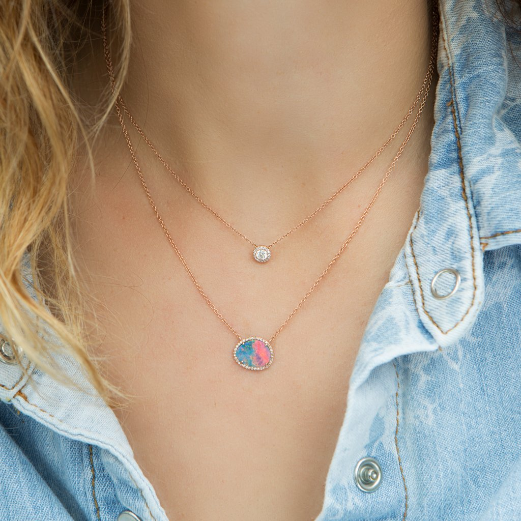 Kt rose gold elegant opal diamond necklace perfect jewelry