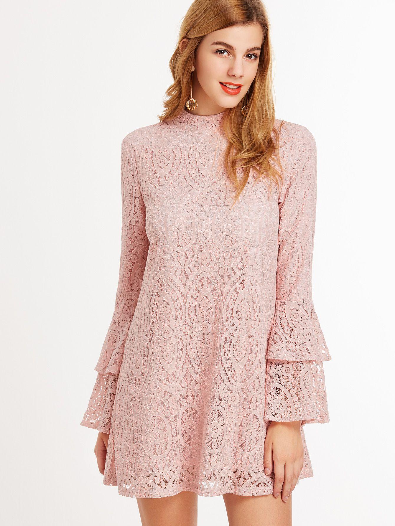 Vestido de encaje con manga a capas de volantes y cuello alto - rosa ...