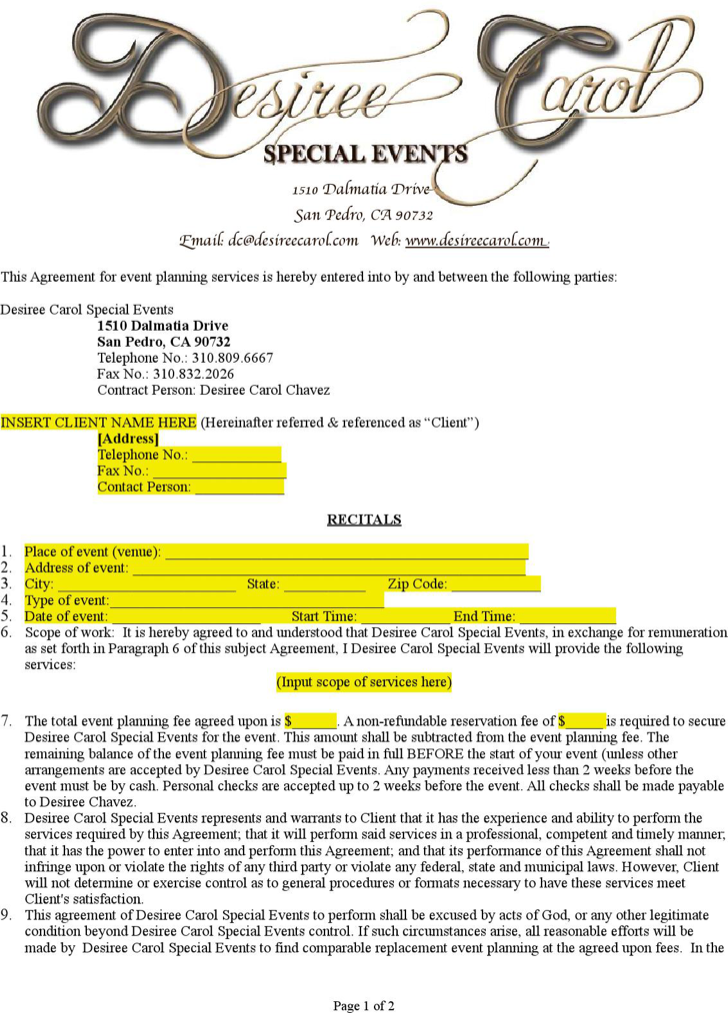 Event Planner Sample Contract Event planning proposal