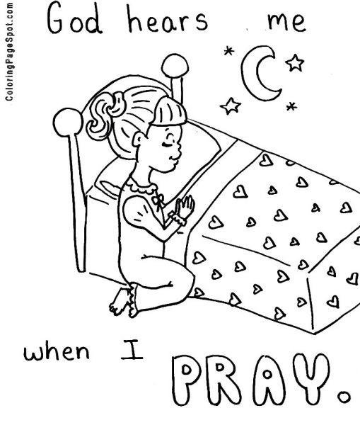 Praying Hands Printable Clip Art Girl Praying Coloring Page
