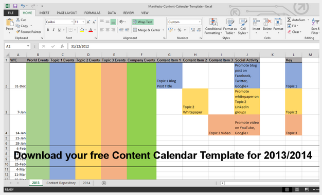 How To Build A Content Calendar Plus A Free Template For 2014
