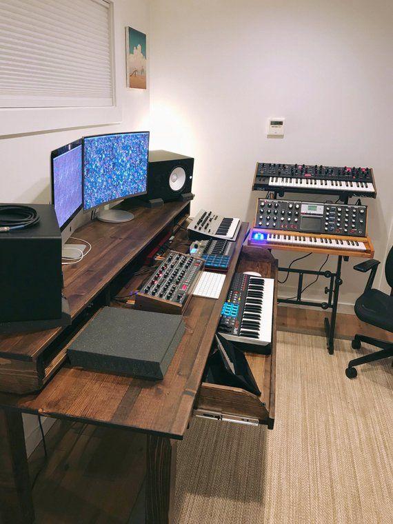 Custom Wood Studio Recording Desk Etsy Home Studio Desk Music Studio Room Recording Studio Desk