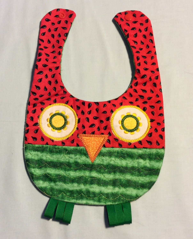 Watermelon Owl Bib   baby shower gift   baby bib   quilted bibs ... : quilted bibs - Adamdwight.com