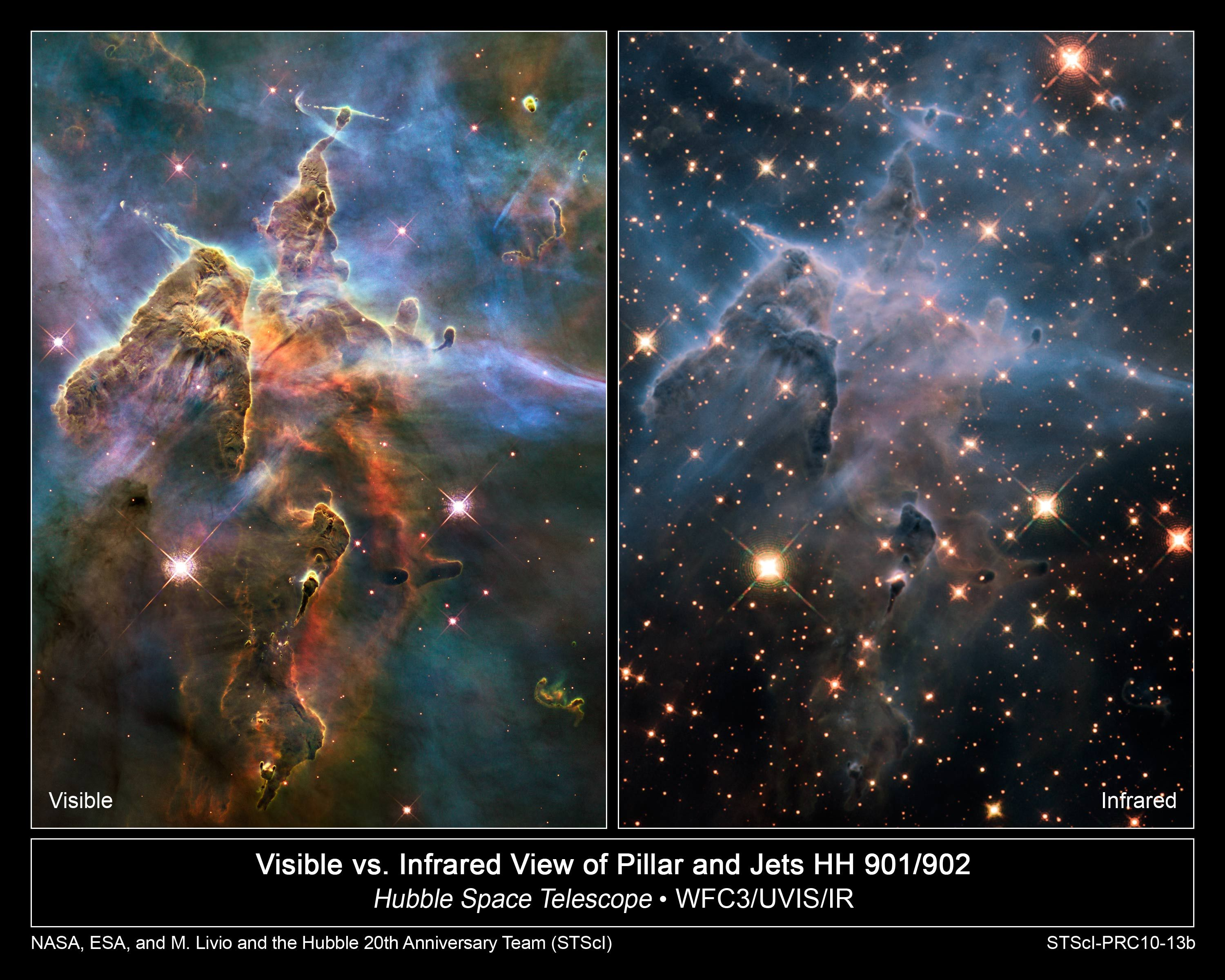 Visible vs Infrared View of Pilar and Jets of Carina