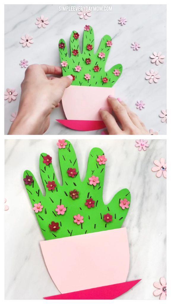 Handprint Kaktus DIY Muttertagskarte #cactuscraft