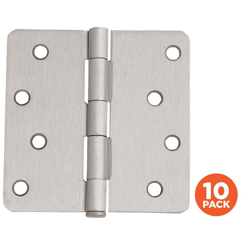Design House 4 In X 1 4 In Radius Satin Nickel Door Hinge Value Pack 10 Per Pack House Design Door Hinges Design