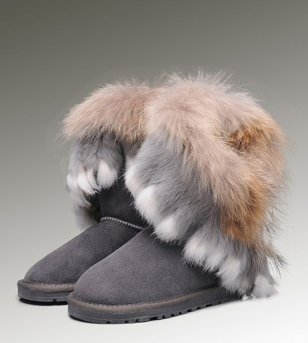ff4df3de13c UGG Short Fox Fur 8288 Grey Boots | Women UGG Fox Fur Boots in 2019 ...