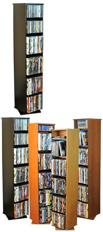 Media Cases And Storage: Revolving Multi Media Tower In Black Finish W  Adjustable Shelves