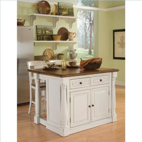 Home Styles 5020-948 Monarch Kitchen Island with 2 Stool, Antiqued