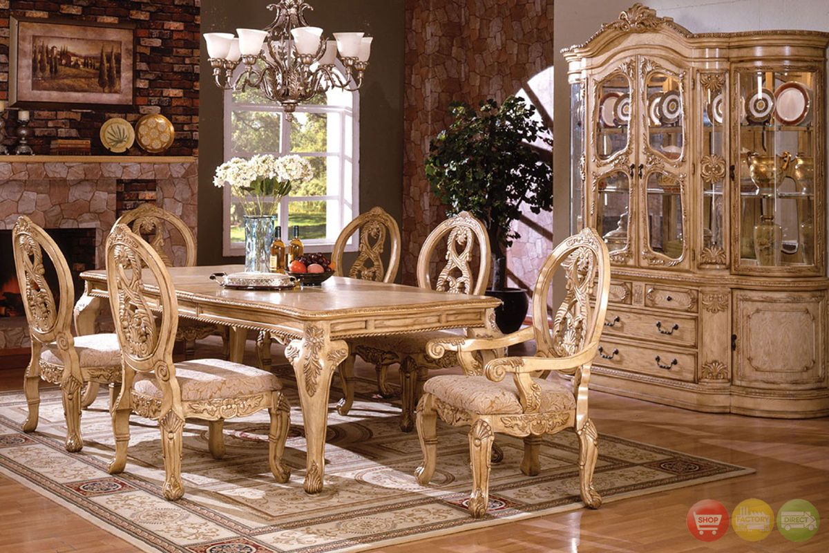 Tuscany Plush Upholstered Dining Room Set With 16 Inch Leaf Formal Dining Room Furniture Dining Room Furniture