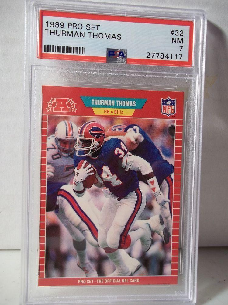 1989 pro set thurman thomas rookie psa nm 7 football card
