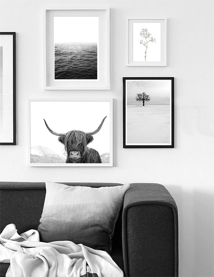 Black And White Gallery Wall Prints Modern Scandinavian Living Room Decor Art Prints By Little Ink Empire