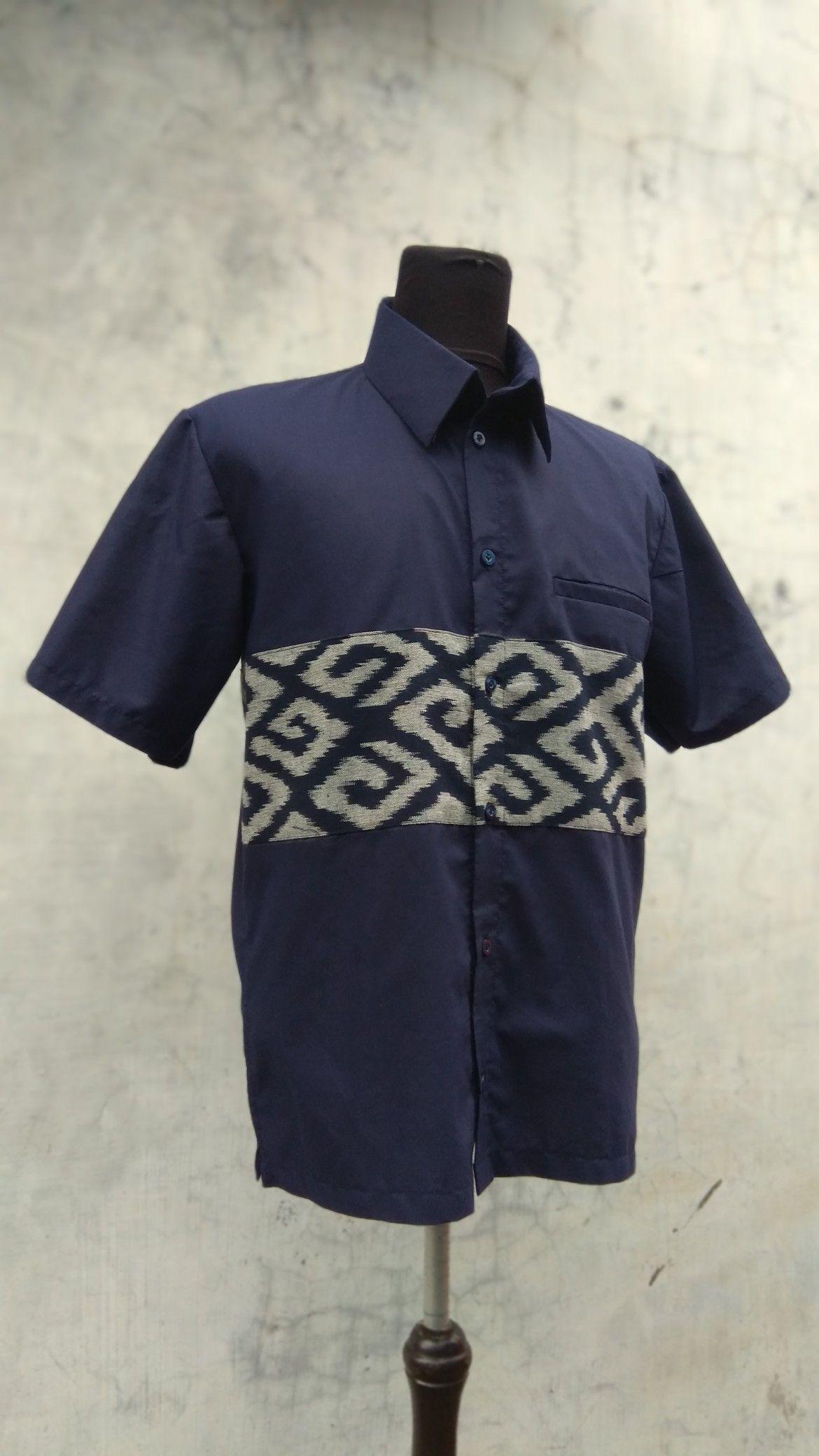 kemeja tenun kombinasi  Model baju pria, Kemeja, Pakaian kerja