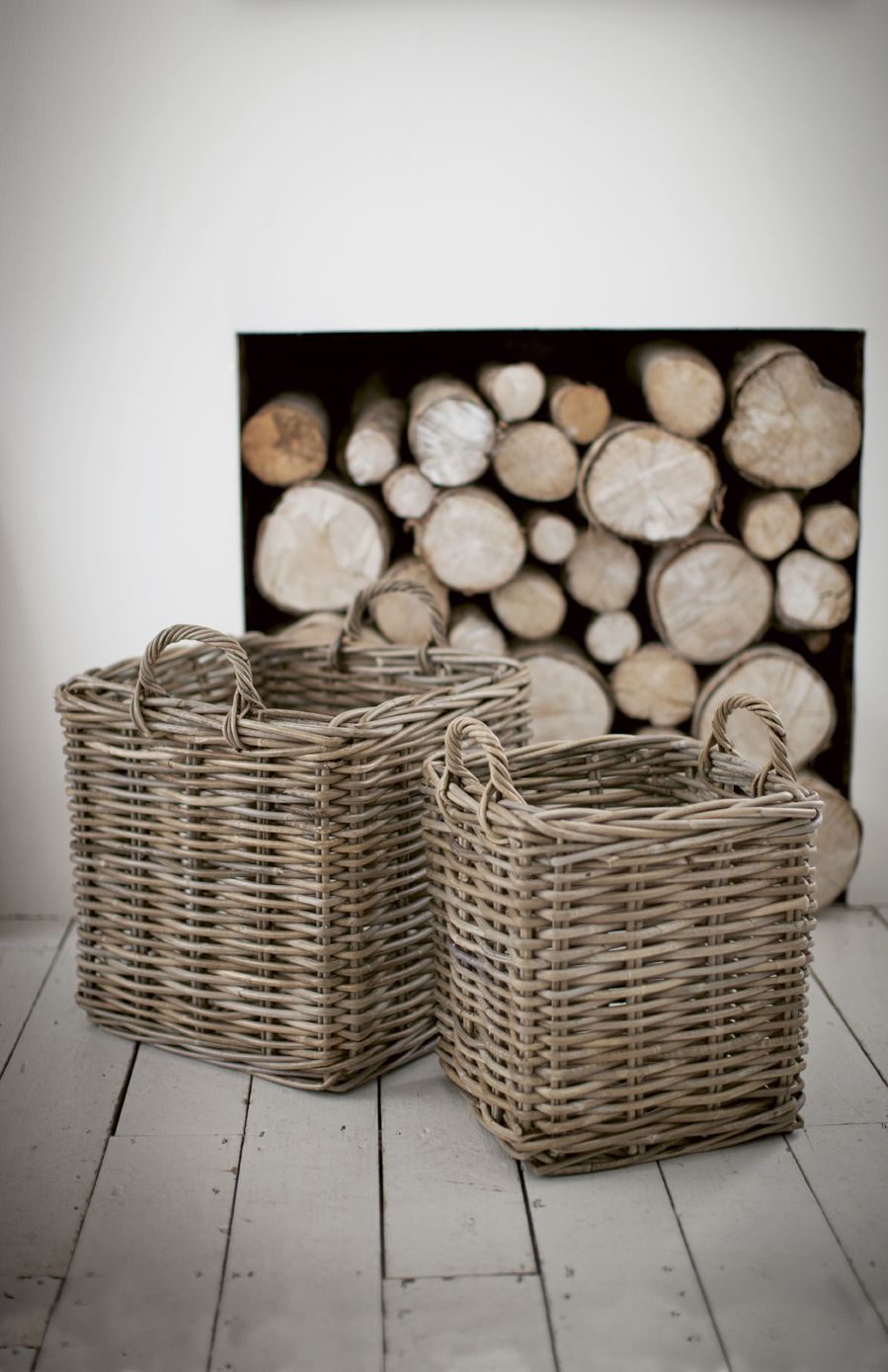 Square log baskets by The Olive Tree wwwtheolivetreeshopcouk