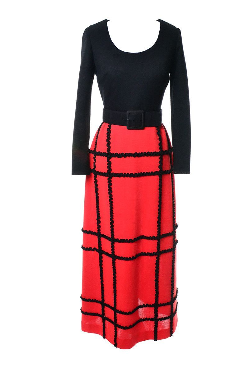 Us vintage maxi dress black and red knit and belt excellent