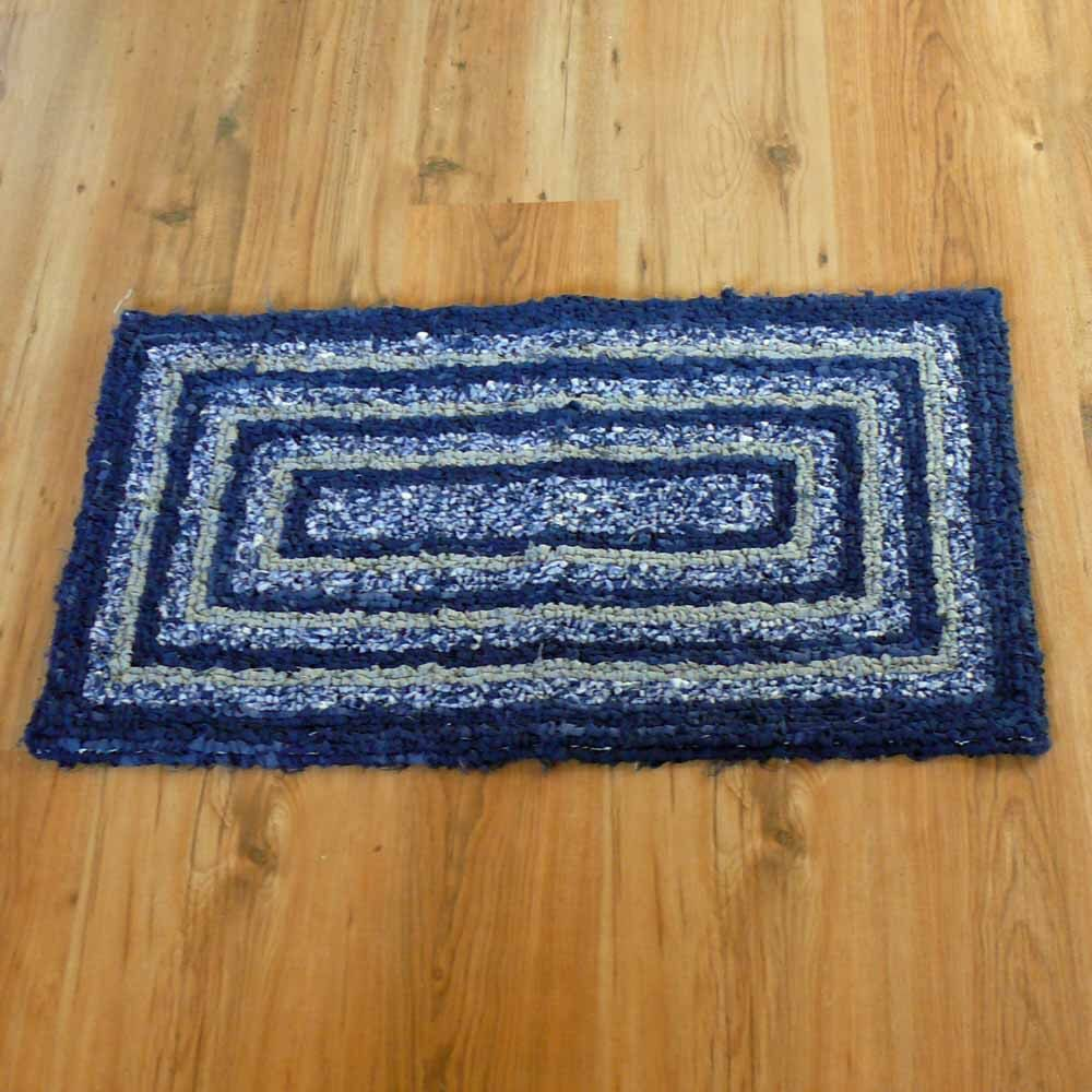 Navy And Grey Recycled Locker Hook Throw Rug Door Mat By Snowmancollector On Etsy Https