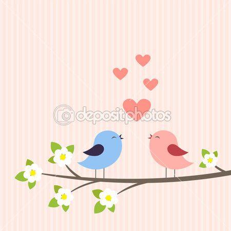 Casal de pássaros apaixonados — Ilustração de Stock #11005194