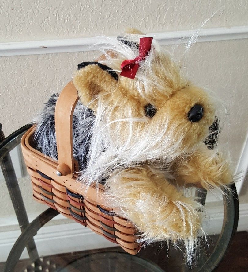 Animal Alley Yorkshire Terrier Dog Plush Long Hair Red Bow 11 Realistic Basket Animalall With Images Yorkshire Terrier Dog Plush Animals Plush Stuffed Animals