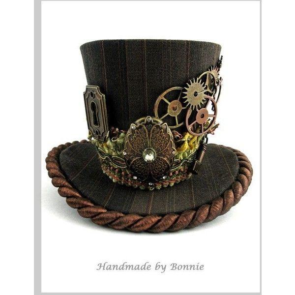 d934933b84ffa Steampunk Mini Top Hat Copper and Brown Pinstripe Gears
