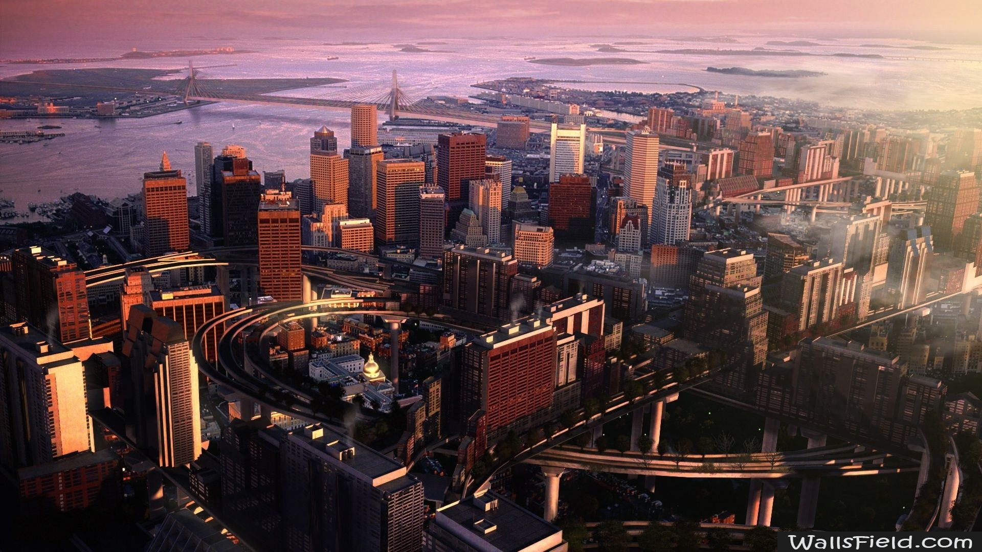 Boston Panorama Wallsfield Com Free Hd Wallpapers Boston Wallpaper Skyline Image City Wallpaper