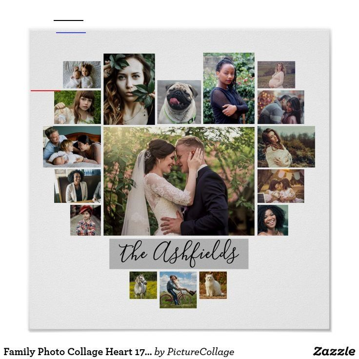 Family Photo Collage Heart 17 Pictures Name White Poster | Zazzle.com Family Photo Collage Heart 17 Pictures Name White Posters  | Personalized Wall Art | Add Your Custom Pictures in a Heart-Shaped Frame | #poster  #PhotoCollage #PhotoGifts #Instagram #photomontage #MomGifts #DadGifts #GrandmaGifts #GrandparentGifts #PhotoGiftIdeas #diy #homedecor #wallart #walldecor #modern #family #familyphotos #valentines #valentinesday #valentinesdaygifts<br> Display your family or wedding memories with this