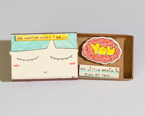 Romantic Thinking of you Love card Cute Matchbox Card Love gift for her Gift for Boyfriend My little brain is full of you LV056  Romantic Thinking of you Love card Cute M...