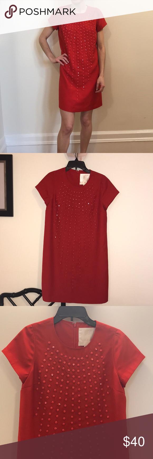 Karta red embellished shift dress my posh closet pinterest