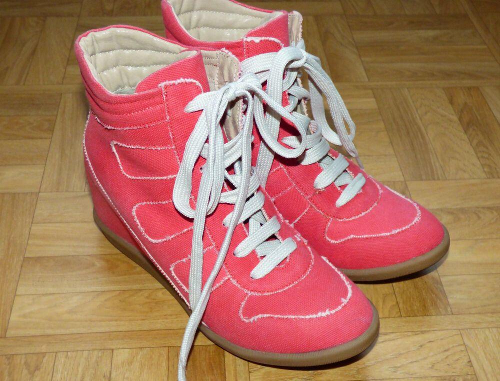 baskets sneakers compensées corail Jonak T41   chaussures et