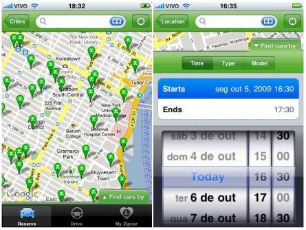 A ZipCar, prestadora do serviço de aluguel de carros, criou seu aplicativo para iPhone e iPod Touch.    Por meio dele, os clientes da Zipcar podem realizar diferentes tipos de busca de acordo com suas necessidades. Podem buscar pela locadora mais próxima (com auxilio de mapas), pelo dia e hora da retirada e devolução do carro, pela categoria e modelo do veículo, nos Estados Unidos, Londres e Canadá.