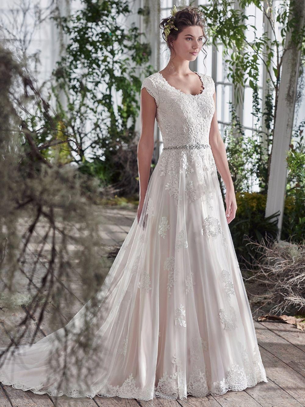 Lace cap sleeve a line wedding dress  Click to Buy ucuc Vintage Lace Appliques Aline Modest Wedding Dresses