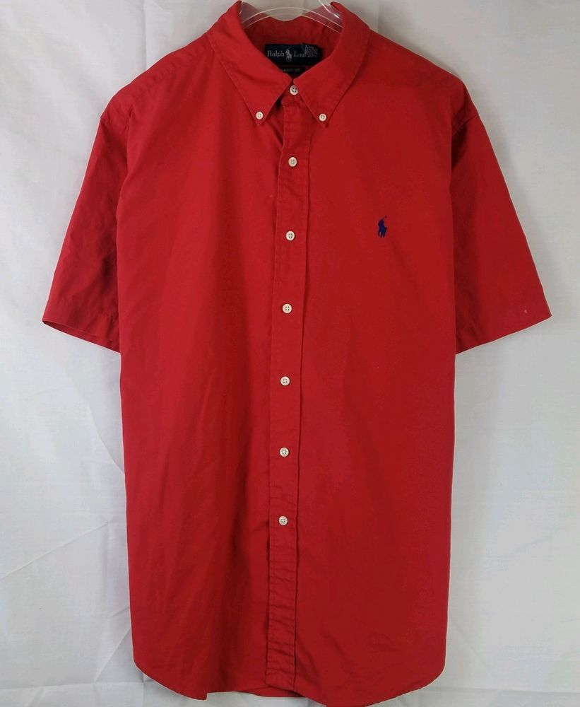 7a7e74232f45 Ralph Lauren Mens Shirt Red Cotton Chest Logo Short Sleeve Button Down Size  XL