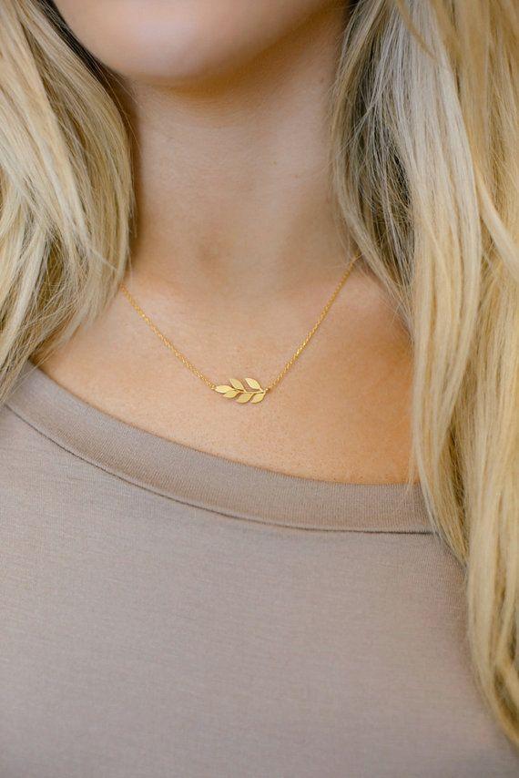 Leaf Necklace Sideways Boho Jewelry Petite Charm by ThreeBirdNest
