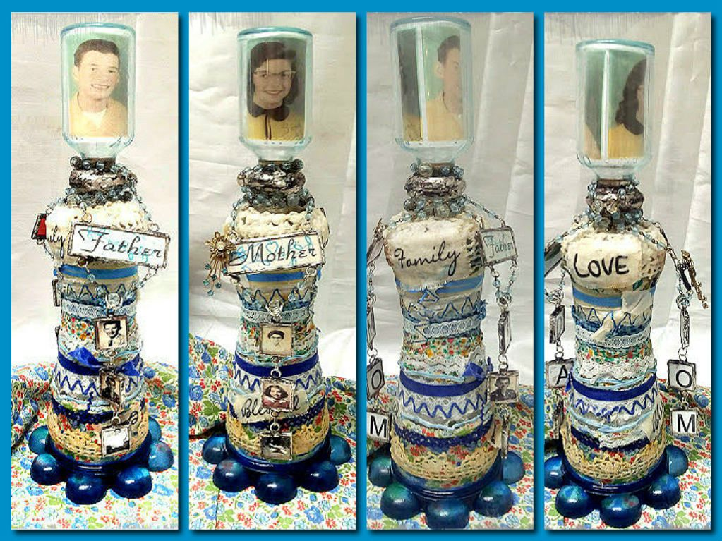https://flic.kr/ps/2khv68 | Jazzie Menagerie's photostream Altered bottle with Mom and Dad's pictures Soldered charms of mothers pictures on one side and soldered charm pictures of Father on the other side.  Blue calico fabric and trims with an encausted wax coating.