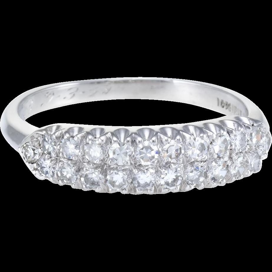 2 Row Diamond Wedding Band Ring Vintage 900 Platinum