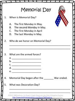 Memorial Day Reading Comprehension Worksheets Reading