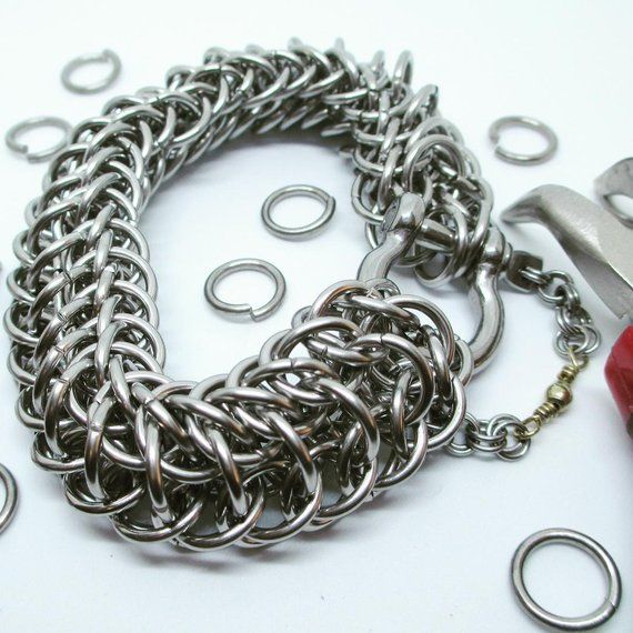 Heavy Duty Stainless Steel Dragon Back Chainmaille Chain Link Bracelet With Shackle Clasp Stainless Steel Chain Bracelet Chain Link Bracelet Link Bracelets