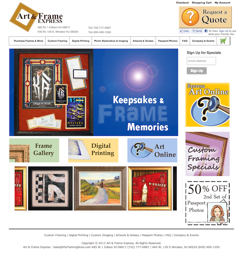 custom framing ecommerce website design / shopping cart integration ...