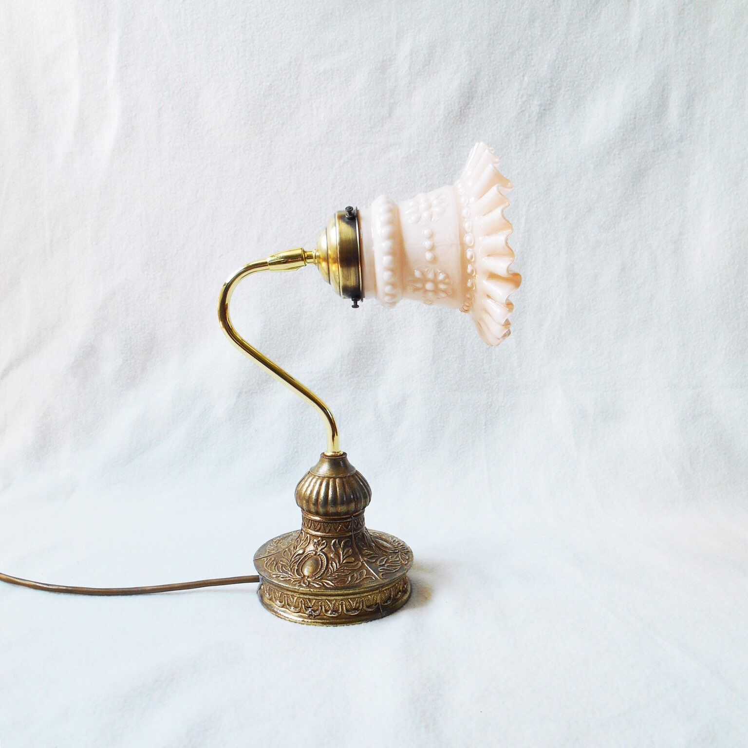 1930s Vintage Glass And Brass Table Lamp Brass Table Lamps Brass Table Lamp