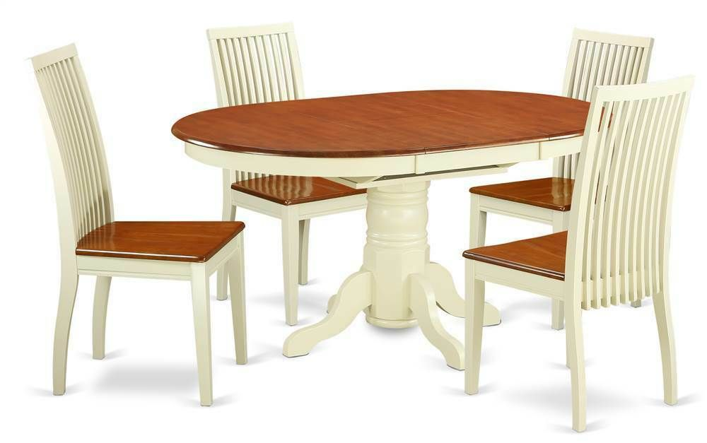 5 Pc Convertible Dining Table Set In Buttermilk And Cherry Id