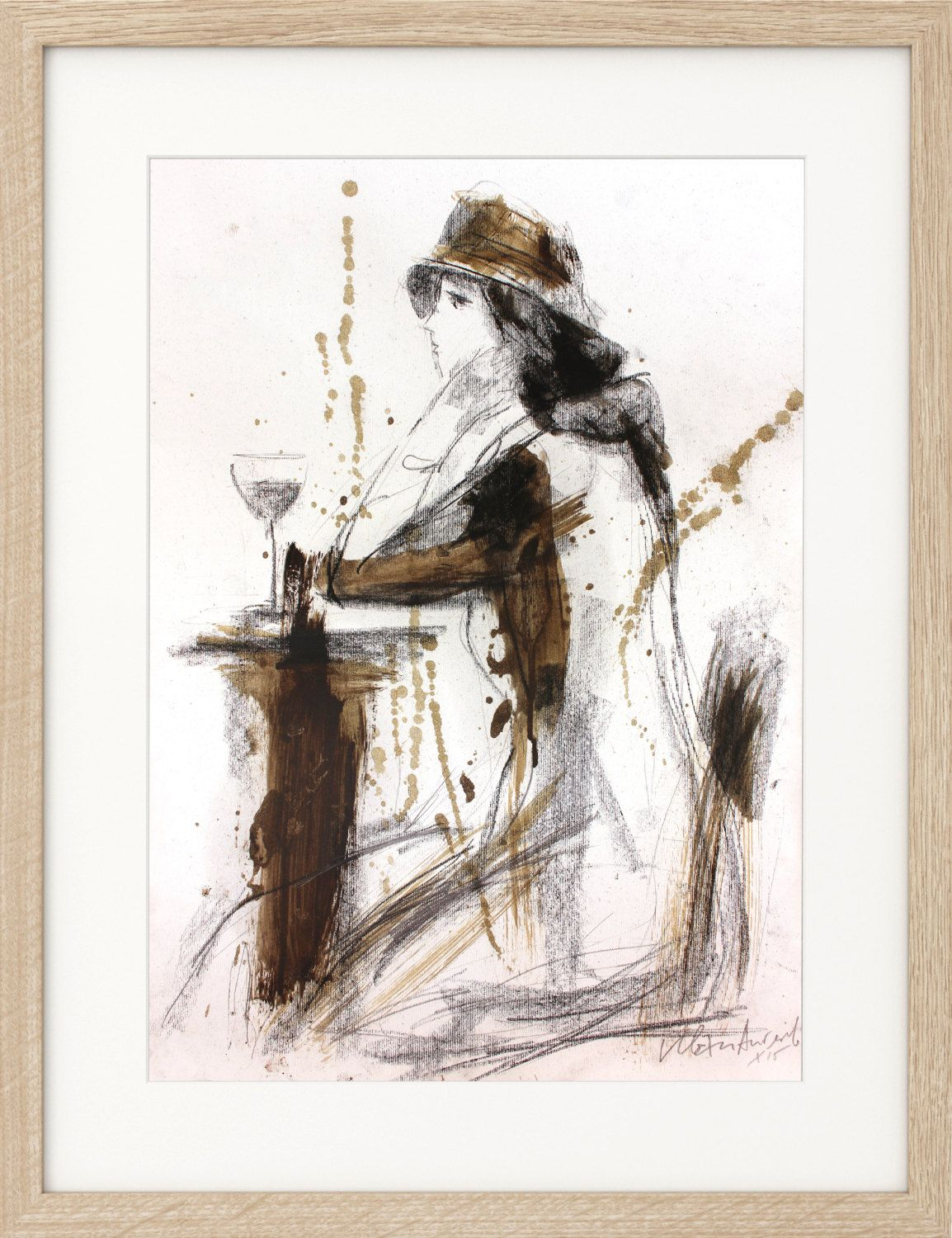 Original artistic drawing charcoal sketch woman with glass of wine