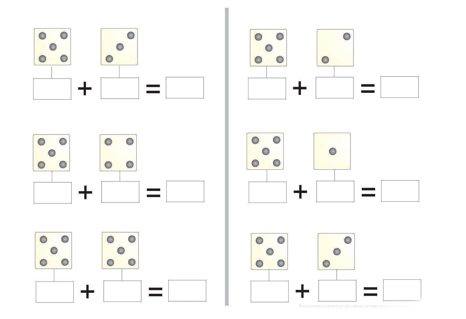 Fichas matemáticas para imprimir. Escribe la cantidad de puntos en ...