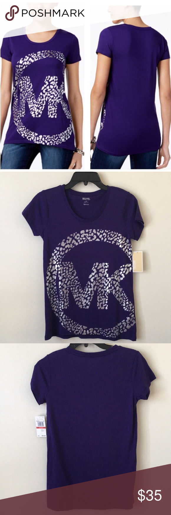 Michael Kors Purple Leopard Print Foil Logo Shirt Nwt Pinterest