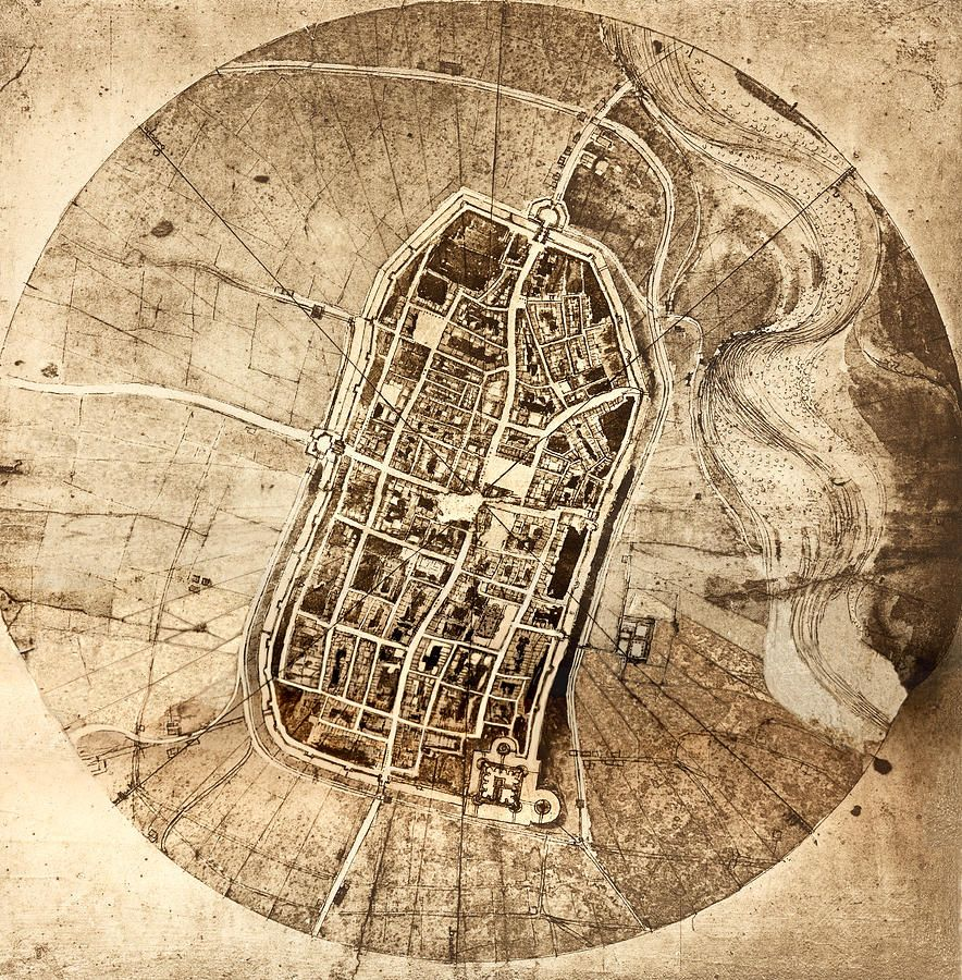 Leonardo da Vinci Map of Imola 1502 Passage Pinterest City